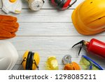 flat lay composition with... | Shutterstock . vector #1298085211