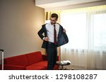 business man with suitcase... | Shutterstock . vector #1298108287