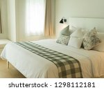 white bedroom with simple... | Shutterstock . vector #1298112181