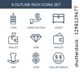 rich icons. trendy 9 rich icons.... | Shutterstock .eps vector #1298129677