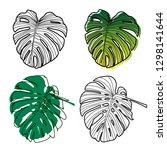 tropical leaves illustration... | Shutterstock .eps vector #1298141644