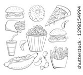 doodle style various fast foods ... | Shutterstock .eps vector #1298154994