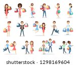 people shopping set with bags... | Shutterstock . vector #1298169604