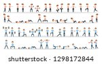 fitness exercises set. man and... | Shutterstock . vector #1298172844
