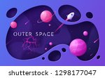 colorful cartoon outer space... | Shutterstock .eps vector #1298177047