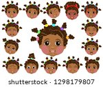 a set of cute faces with...   Shutterstock .eps vector #1298179807