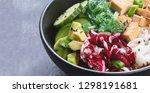 vegan buddha bowl with guinoa ...   Shutterstock . vector #1298191681