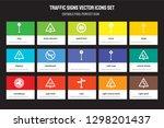 set of 15 flat traffic signs...   Shutterstock .eps vector #1298201437