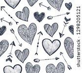 vector seamless romantic... | Shutterstock .eps vector #1298205121