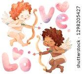 funny little angel boys....   Shutterstock . vector #1298205427