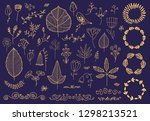 vector set of hand drawn floral ... | Shutterstock .eps vector #1298213521