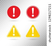 warning symbol set. exclamation ... | Shutterstock .eps vector #1298217211
