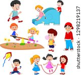 cartoon kids playing | Shutterstock . vector #1298219137