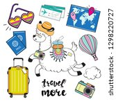 Cute llama with suitcases, passport, map, camera and other travel items and the inscription travel more