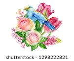 spring composition with blue...   Shutterstock . vector #1298222821