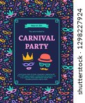 carnival party invitation with... | Shutterstock .eps vector #1298227924