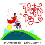 vector illustration of a couple ... | Shutterstock .eps vector #1298228944