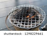 stove charcoal.orange flames of ... | Shutterstock . vector #1298229661