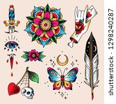 set of  color tattoos at... | Shutterstock .eps vector #1298240287