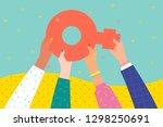 concept of woman power. women... | Shutterstock .eps vector #1298250691
