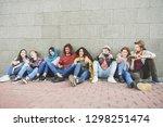 group of millennial friends... | Shutterstock . vector #1298251474