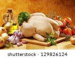 Raw Chicken Ready To Roast Wit...
