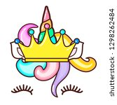 kawaii cute unicorn horn  funny ... | Shutterstock .eps vector #1298262484
