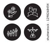 4 linear vector icon set  ... | Shutterstock .eps vector #1298268454