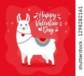 greeting card with lovely lama. ... | Shutterstock .eps vector #1298282161