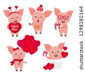 valentine's day set with cute... | Shutterstock .eps vector #1298282164