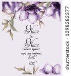 purple flowers card watercolor... | Shutterstock .eps vector #1298282377
