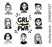 girl power movement. doodle... | Shutterstock .eps vector #1298307457