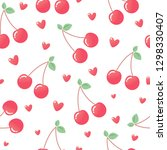 pink cherry and hearts.... | Shutterstock .eps vector #1298330407