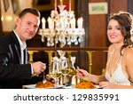 happy couple have a romantic... | Shutterstock . vector #129835991