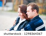 happy couple hugging and... | Shutterstock . vector #1298364367