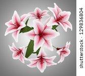 top view of bouquet of pink... | Shutterstock . vector #129836804