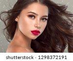 beautiful hair woman winter... | Shutterstock . vector #1298372191