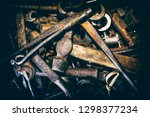 old rusty tools are in disarray.... | Shutterstock . vector #1298377234