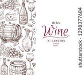 hand drawn wine background.... | Shutterstock .eps vector #1298377684