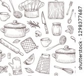 kitchen tools seamless pattern. ... | Shutterstock .eps vector #1298377687