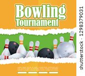 bowling  torn paper theme...   Shutterstock .eps vector #1298379031