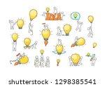 cartoon lamp ideas with little... | Shutterstock .eps vector #1298385541