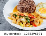 stir fry chicken sweet onion... | Shutterstock . vector #1298396971