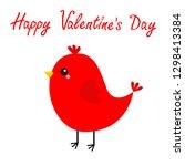 happy valentines day. red bird. ... | Shutterstock .eps vector #1298413384