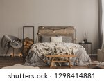 stylish grey chair with blanket ... | Shutterstock . vector #1298414881