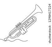 trumpet continuous line vector... | Shutterstock .eps vector #1298417224