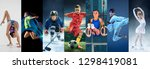Small photo of Attack. Sport collage about teen or child athletes or players. The soccer football, badminton, ice hockey, figure skating, karate martial arts, rhythmic gymnastics. Little boys and girls in action or