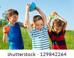 happy boys with plastic... | Shutterstock . vector #129842264