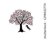 girl swing on the cherry... | Shutterstock .eps vector #1298422774