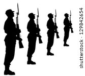 silhouette soldiers during a... | Shutterstock . vector #129842654